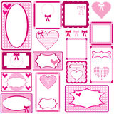 Set of cute pink frames for girls Royalty Free Stock Photos