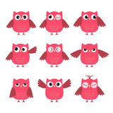 Set of cute pink owls with various emotions Royalty Free Stock Photography