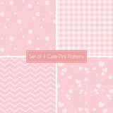 Set of 4 cute Pink Patterns and textures Royalty Free Stock Photography