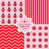 Set of 4 cute Pink & Red seamless patterns Stock Image