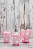 Set of Cute Pink Toilet Brush and Accessories for Bathroom Stock Photo