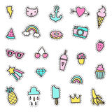 Set of cute pins, stickers, objects. Royalty Free Stock Image