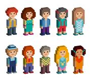 Set of cute pixel art style isometric characters. Men and women are standing on white background. Vector illustration Stock Illustration
