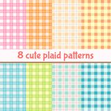 Set of cute plaid seamless patterns. Background in mint, yellow, blue, orange, pink, green colors. Vector collection royalty free illustration
