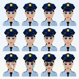 Set of cute police officer woman emoticons. Stock Photos