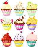 Set of cute polka dot cupcakes Royalty Free Stock Photos