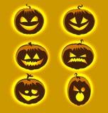 Set cute positive pumpkin icons night Halloween Stock Images