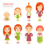 Set of cute pretty women age flat icons Royalty Free Stock Photography