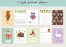 Set of Cute Printable Vector Cards and Notes Royalty Free Stock Images