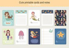 Set of Cute Printable Vector Cards and Notes vector illustration