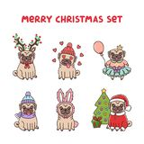 Set Cute Pug Dogs In Costume For Merry Christmas. Royalty Free Stock Images