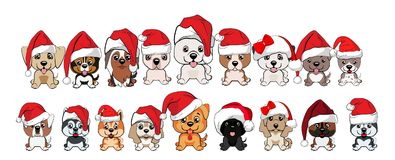 Set of cute puppies in red caps with white pompons. Dogs of different breeds Royalty Free Stock Image