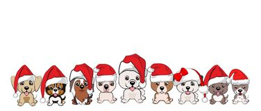Set of cute puppies in red caps with white pompons. Dogs of different breeds Royalty Free Stock Photos