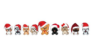 Set of cute puppies in red caps with white pompons. Dogs of different breeds Stock Photos