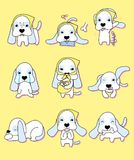 Cute puppy with 9 different actions stock illustration