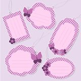 Set of cute purple tags Stock Image