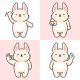 Vector set of cute rabbit characters stock illustration