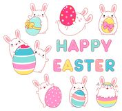 Collection of cute rabbits with Easter eggs. Set of cute rabbits with Easter eggs. Funny, happy, laughing, playing, running, with friend. Inscription `Happy vector illustration
