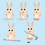 Set of cute rabbits playing hockey Royalty Free Stock Photography