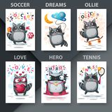 Set cute raccoon - mockup for your idea.