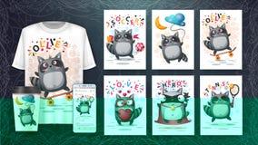 Set cute raccoon poster and merchandising
