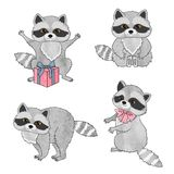 Set of cute raccoons isolated on white. Vector cartoon illustration Royalty Free Stock Photography