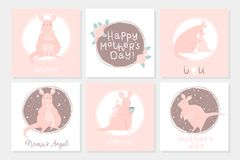 Set of 6 cute ready-to-use gift postcard with adorable mother kangaroo and her child. Postcard, poster, invitation design. Happy Mothers` Day greeting cards Stock Image