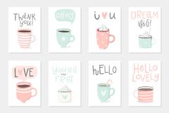 Set of 8 cute ready-to-use gift romantic cards with cups. Vector printable collection of Valentine`s Day card, invitation, poster in gentle colors template Stock Photos