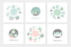 Set of 6 cute ready-to-use gift romantic postcards with succulents. Vector printable template design collection of  cards, invitations, posters in pastel Stock Photography