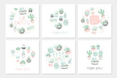 Set of 6 cute ready-to-use gift romantic postcards with succulents. Vector printable template design collection of  cards, invitations, posters in pastel Stock Photos