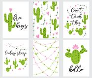 Set cute ready-to-use gift tags with cactus Printable collection of hand drawn in green colors. Set cute ready-to-use gift tags with cactus. Cactus, hearts Royalty Free Stock Image