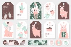 Set of cute ready-to-use gift tags, cards and sticers with lamas. Gifts, hearts, cups, cacti and magic. Printable collection of hand drawn Birthday or Royalty Free Stock Photos