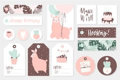 Set of cute ready-to-use gift tags, cards and sticers with lamas. Gifts, hearts, cups, cacti and magic. Printable collection of hand drawn Birthday or Royalty Free Stock Photo