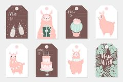 Set of 8 cute ready-to-use gift tags with lamas. Gifts, hearts, cups, cacti and magic. Printable collection of hand drawn Birthday or Valentine`s Day label in Stock Images