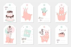Set of 8 cute ready-to-use gift tags with lamas. Gifts, hearts, cups, cacti and magic. Printable collection of hand drawn Birthday or Valentine`s Day label in Stock Photos