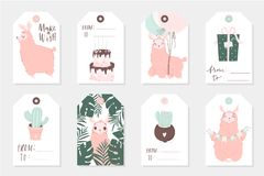 Set of 8 cute ready-to-use gift tags with lamas. Gifts, hearts, cups, cacti and magic. Printable collection of hand drawn Birthday or Valentine`s Day label in Stock Photography