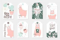 Set of 8 cute ready-to-use gift tags with lamas. Gifts, hearts, cups, cacti and magic. Printable collection of hand drawn Birthday or Valentine`s Day label in Stock Photo