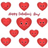 Set of cute red heart smiles in cartoon style. vector illustration