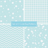 Set of 4 cute retro blue Patterns and textures Royalty Free Stock Photo