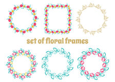 Set of cute retro floral frames. Perfect for greeting cards, wedding invitations or guest card. Stock Photo