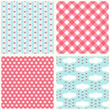 Set of cute retro primitive seamless patterns with hearts, polka dots and gingham. For your decoration stock illustration