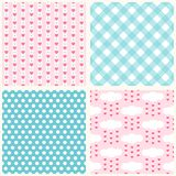 Set of cute retro primitive seamless patterns with hearts, polka dots and gingham Royalty Free Stock Photo