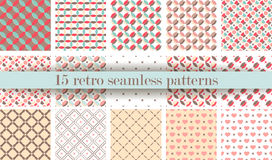 Set of Cute retro seamless pattern. Retro pink, white and blue colors. Royalty Free Stock Image