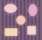 Set of cute, retro vector frames. Collection of sweet retro vector frames on dark background Royalty Free Stock Image