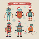 Set of Cute Retro Vintage Hipster Christmas Robots. Royalty Free Stock Image