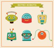Set of cute retro vintage robots heads vector illustration