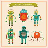 Set of cute retro vintage robots Royalty Free Stock Photos