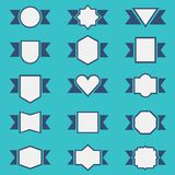 Set of cute ribbon badges set in different shapes Stock Photography