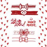 Set of cute ribbons, bows, hearts. Stock Photography