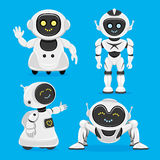 Set of cute robots. On a blue background royalty free illustration